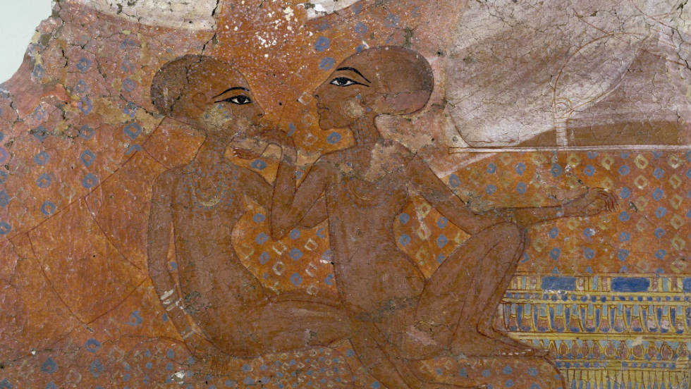 A detail from a wall-painting picturing the daughters of Pharaoh Akhenaten, 18th Dynasty, c.1345-1335 BC.