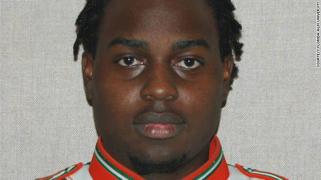 "Florida A&M University student Robert Champion, 26, who, an autopsy found, ""died within an hour of a hazing incident."""