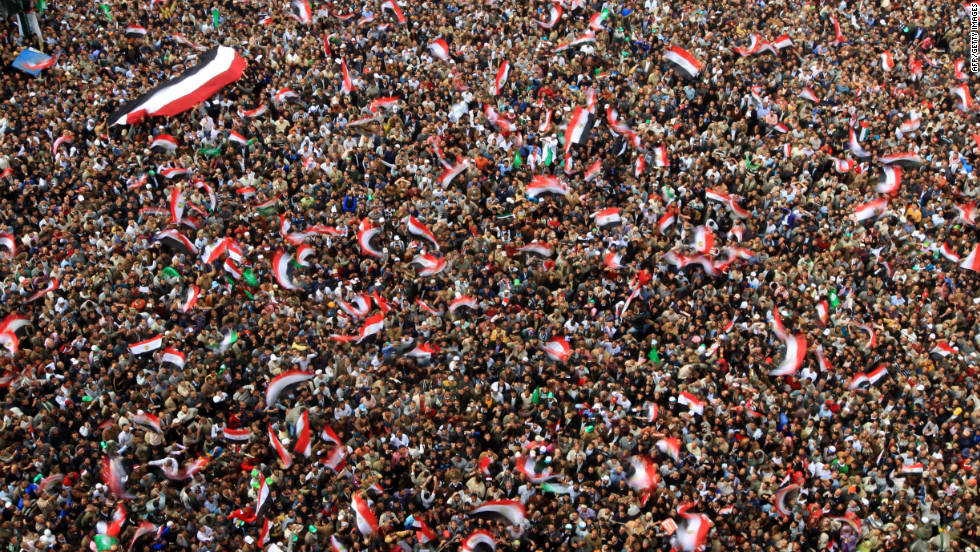 Protesters fill Tahrir Square in Cairo on Friday, November 18.