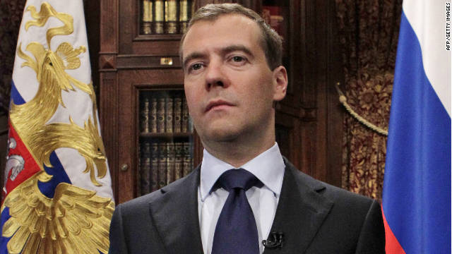 Russian President Dmitry Medvedev speaks during a statement on European anti-missile defense in his residence of Gorki outside Moscow on November 23, 2011. Russia on Wednesday warned the West that it could deploy missiles on the EU's borders to strike against missile defence facilities that the United States plans to install in eastern Europe.