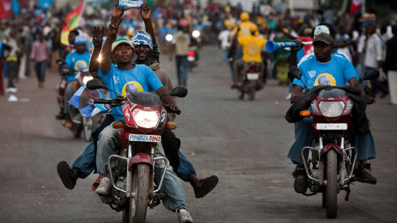 The Democratic Republic of Congo will hold both presidential and parliamentary elections on November 28. Here supporters of incumbent, Joseph Kabila drive down streets in the eastern city of Goma.