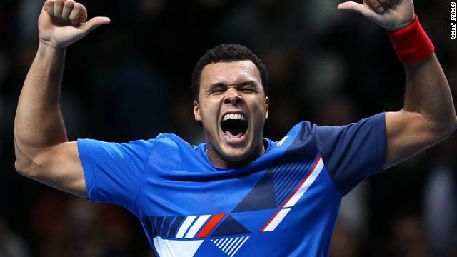 Jo-Wilfried Tsonga celebrates with his trademark victory dance after beating Rafael Nadal on Thursday.