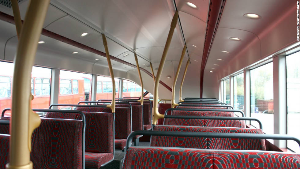 Upstairs, the same layout as the old Routemaster has been retained but with improved spot lighting.