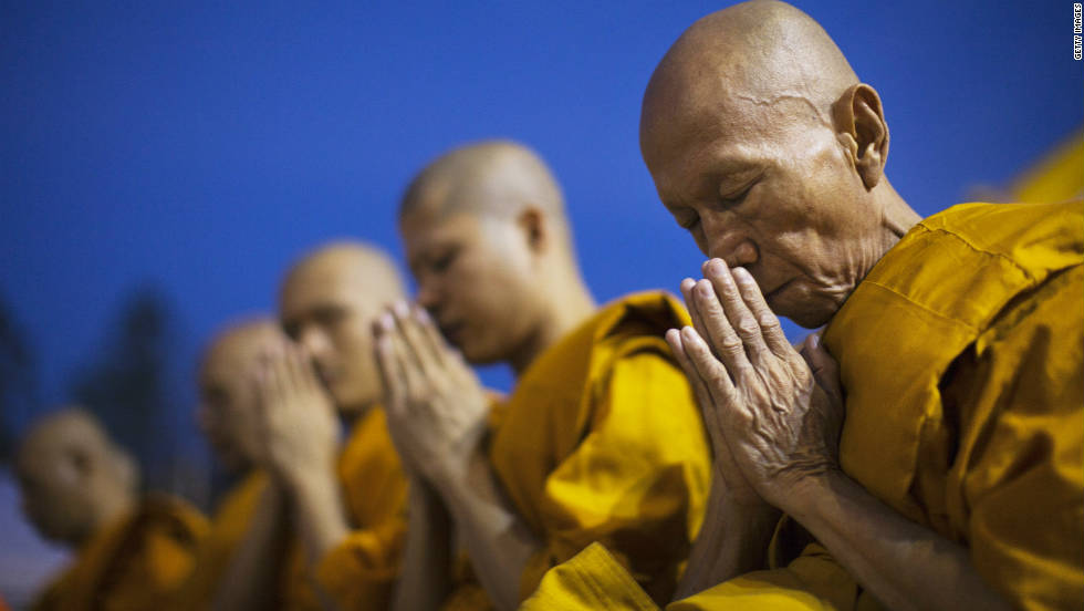 Buddhist monks offer prayers during the Maha Puja religious festival in Bangkok. Nearly 95% of Thai's are followers of the Buddhist faith, according to the CIA World Factbook.