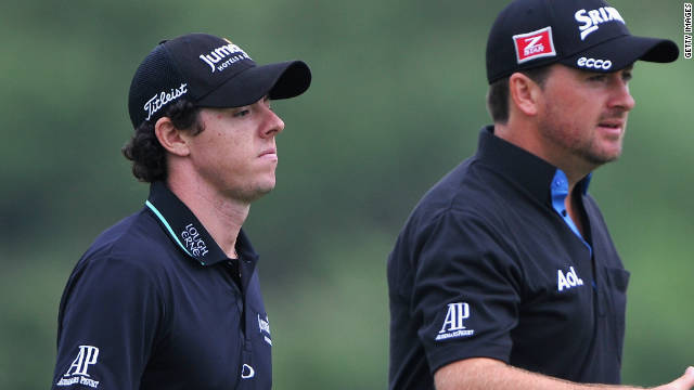 Rory McIlroy and Graeme McDowell march forward during their second round 68 in China