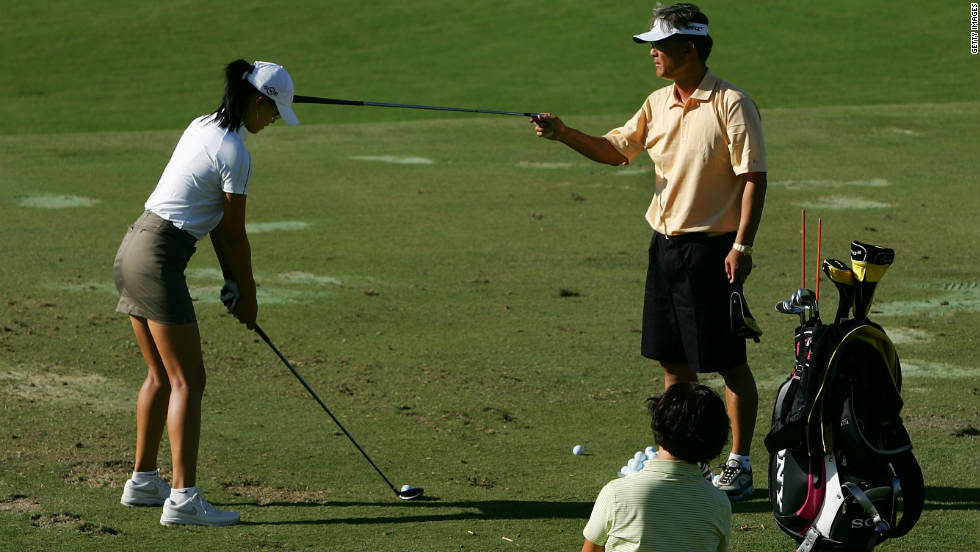 """So much of golf is based around how you set your foundations. It's really important that when golfers set up for the ball that instead of having slouchy round shoulders, pull your shoulders down, then your arms can actually get to your chest,"" Leadbetter says.  Almost like how the Japanese how bow: rear end out, slightly bend your knees, pull your shoulder blades down and arms resting in your chest and you're in perfect position."""