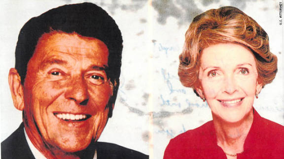 Prosecutors said Hinckley wrote a note to Foster on the back of this postcard which featured the president and first lady Nancy Reagan. Click on the next frame to read Hinckley