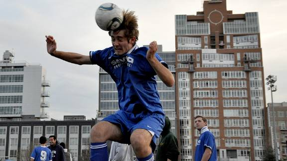 An amateur soccer player in Brooklyn