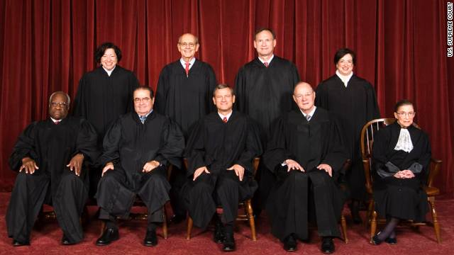The nine U.S. Supreme Court justices are expected to rule on the Obama health care law next year. Pictured, bottom row (left to right) - Clarence Thomas, Antonin Scalia, John G. Roberts, Jr. (Chief Justice), Anthony M. Kennedy, Ruth Bader Ginsburg. Top row - (left to right) Sonia Sotomayor, Stephen G. Breyer, Samuel Alito, Jr., Elena Kagan.
