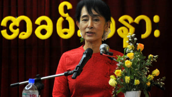 Pro-democracy leader Aung San Suu Kyi speaks at National League for Democracy party headquarters in Yangon in November.
