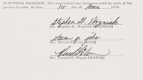 """The documents were signed by Steve Jobs, Steve Wozniak and """"forgotten founder"""" Ron Wayne."""