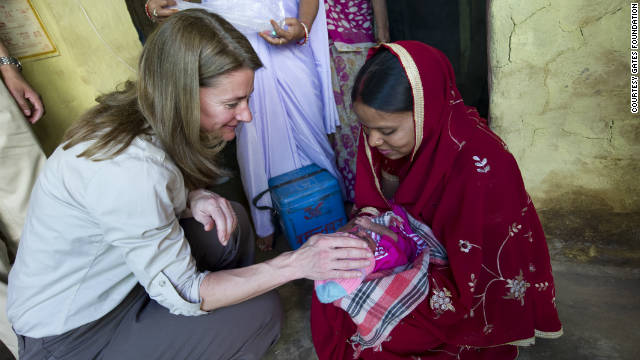 Melinda Gates talks with Rukmini, a young mother in the state of Uttar Pradesh, in north-central India.