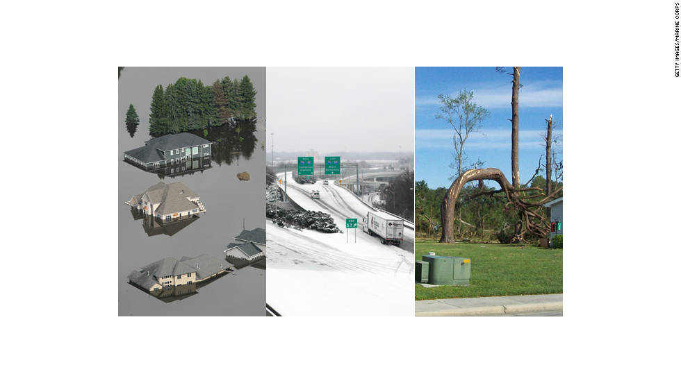 "From tornadoes to flooding to paralyzing ice storms, the United States was severely affected by 12 natural disasters in 2011 that cost more than $1 billion each and claimed hundreds of lives, according to the <a href=""http://www.noaanews.noaa.gov/stories2011/20111207_novusstats.html"" target=""_blank"">National Oceanic and Atmospheric Administration</a>."