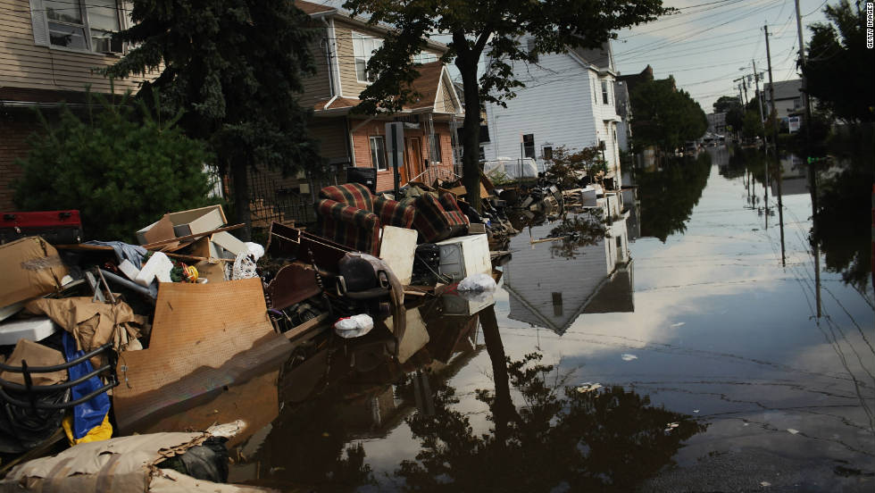 On August 28, Hurricane Irene became the first hurricane to make landfall in the state of New Jersey in more than a century.  The storm -- which had already pummeled the Caribbean islands and North Carolina's Outer Banks -- flooded streets, like this one in Wallington, New Jersey,  knocked out electricity and inflicted more than $7 billion in damages.  At least 45 people were killed in the storm.