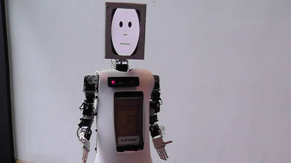 CHARLY was also designed at the University of Hertfordshire. Part of a project to find out how people like their robots to look, CHARLY's projected face slowly morphs to look like the faces of those around him.