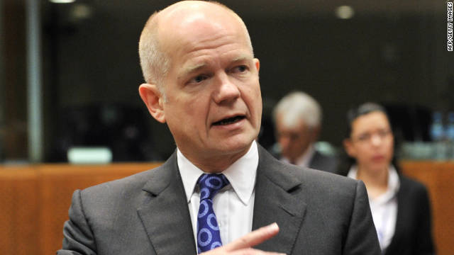 British Foreign Minister William Hague at the EU meeting in Brussels