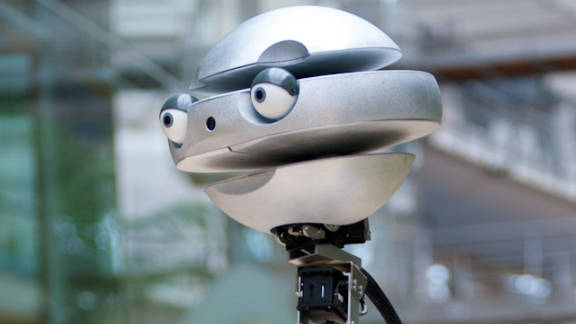 """Developed by Wroclaw University of Technology, in Poland, """"Flash"""" has a selection of robotic heads that show different emotions. It's part of a project that aims to better understand how humans recognize emotions and to teach robots to read social situations."""
