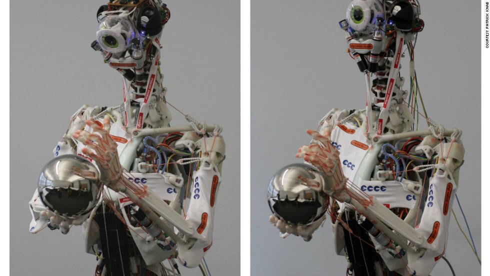 "Eccerobot is an EU-funded project that aims to build ""the first truly anthropomimetic robot."" That means, rather than just copying the external appearance of a human, it is built by mimicking a human's bones, joints, muscles, and tendons."