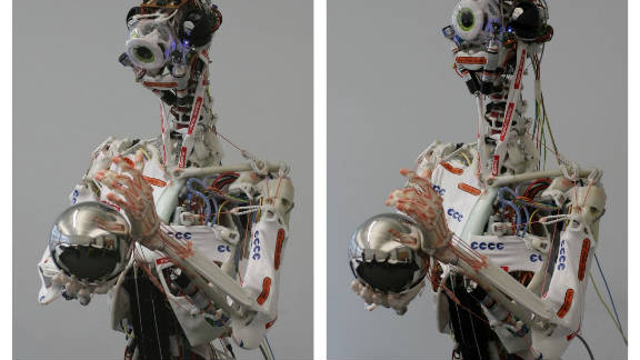 """Eccerobot is an EU-funded project that aims to build """"the first truly anthropomimetic robot."""" That means, rather than just copying the external appearance of a human, it is built by mimicking a human's bones, joints, muscles, and tendons."""