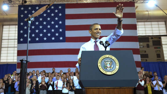 President Barack Obama makes his way onto the stage to speak on payroll tax cuts this week in Scranton, Pennsylvania.