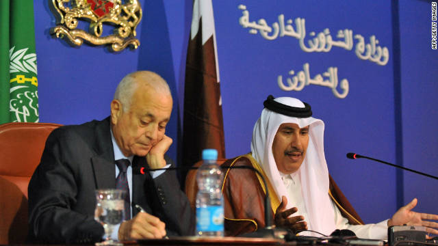Arab League Secretary General Nabil el-Araby, left, and Qatari P.M. Hamad ben Jassem attend meeting to discuss Syria.