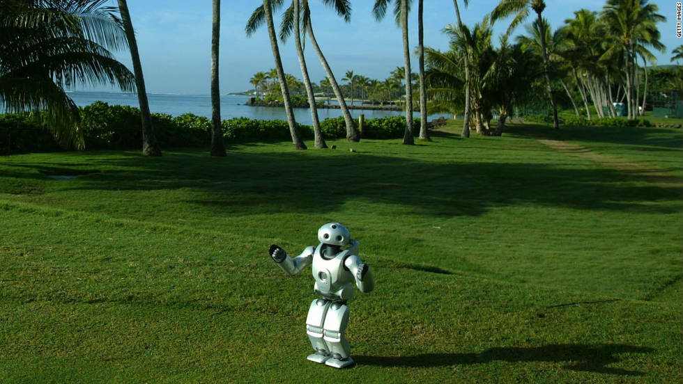 Sony's robot sits on a teebox during a PGA Tour tournament sponsored by the Japanese corporation.