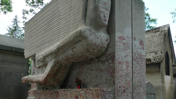 After it was given 'listed' status in 1995, the amount of grafitti on the memorial reduced, but instead fans took to kissing the stone. Grease in the lipstick caused serious damage.