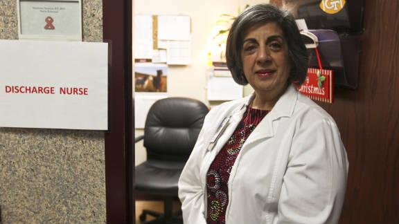 Nurse educator Marianne Swanson, who teaches patients how to use  medications, is HIV-positive.