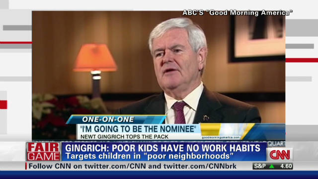 Gingrich targets work ethic of poor kids