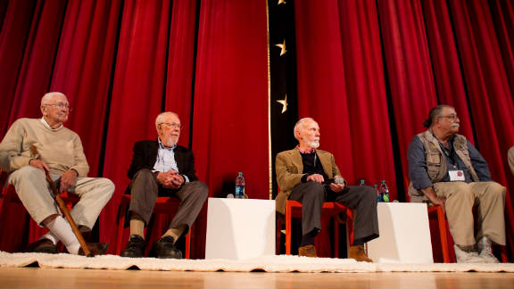 Artists Jack Davis, Al Jaffee, Paul Coker and Sergio Aragones give a presentation at SCAD.