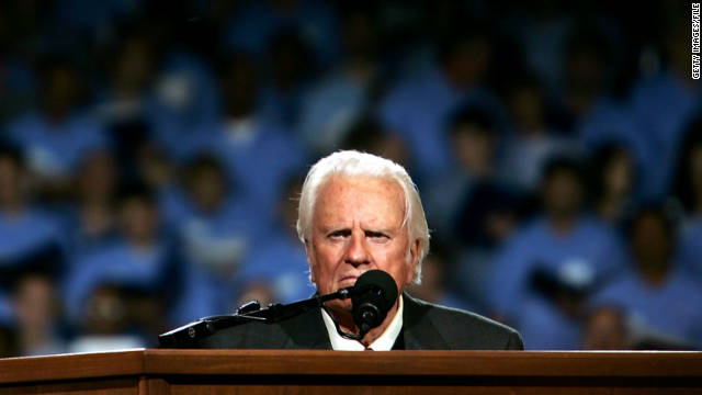 Billy Graham speaks in 2005 during his Crusade at Flushing Meadows Corona Park in Queens, New York.