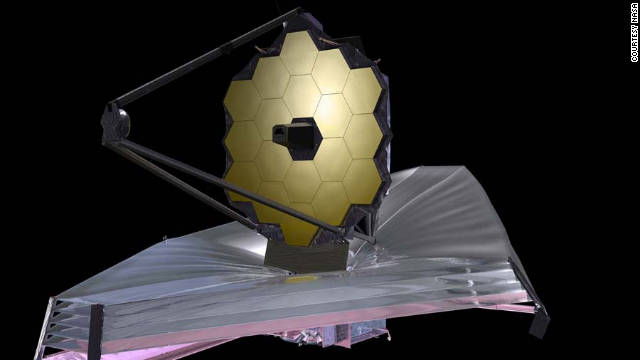 An artist's rendering of the James Webb Space Telescope, planned as the powerful replacement for Hubble.