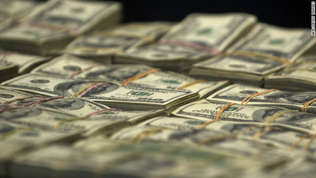 Bank notes part of a seizure of more than 15 million US dolars during a presentation to the press on November 22, 2011 in Mexico City