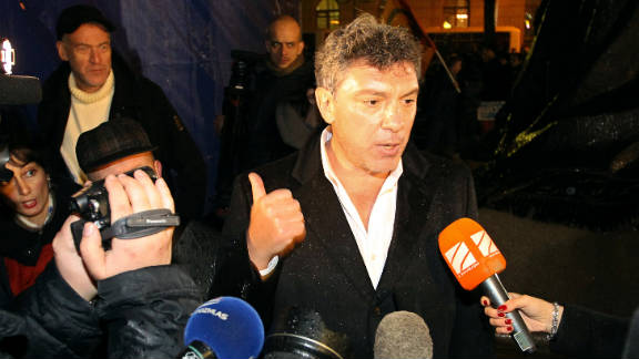 Boris Nemtsov speaks during an opposition rally in central Moscow on December 5, 2011.