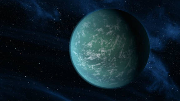 An artist's impression of the newly-discovered, Earth-like planet Kepler 22b