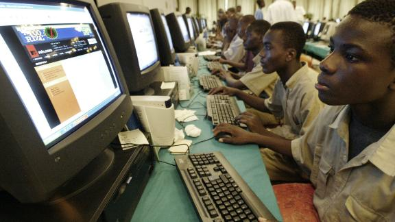 Young Ivorians at an Internet Festival in Abidjan
