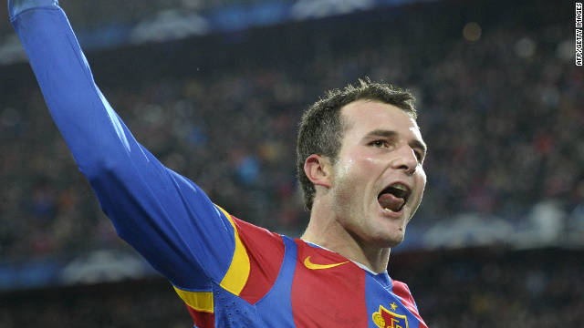 Alex Frei celebrates his clinching second goal for Basel in their 2-1 win over Manchester United