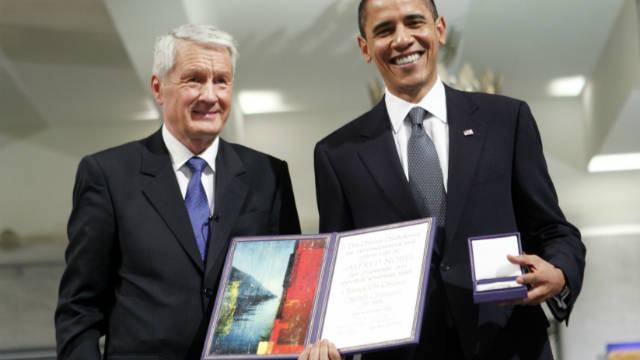 Barack Obama was presented with the award after less than a year in office.