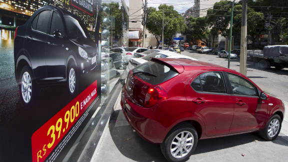 Cars made in China by JAC Motors are for sale in Rio de Janeiro. China replaced the United States as Brazil's top trade partner.