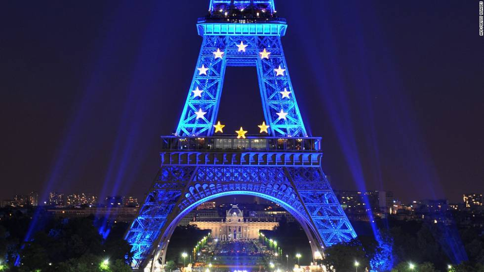 In 2008, the Eiffel Tower was illuminated in blue with gold stars, representing the EU flag, to mark the staunchly pro-European nation's EU presidency.