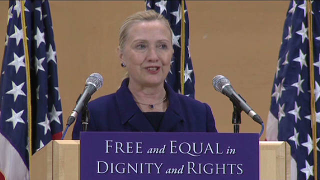 Hillary Clinton promotes gay rights