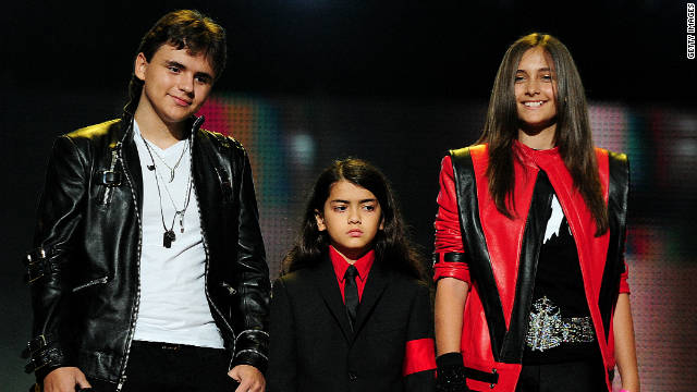From left, Prince, Blanket and Paris Jackson at the 'Michael Forever Tribute Concert' at Millennium Stadium on October 8, 2011. in Cardiff, Wales.
