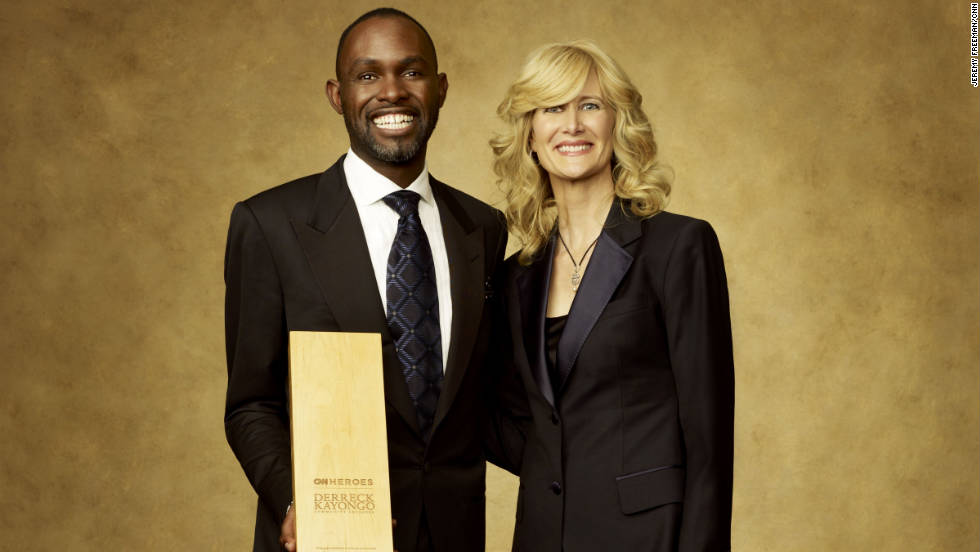 CNN Hero Derreck Kayongo of the Global Soap Project and Actress Laura Dern.