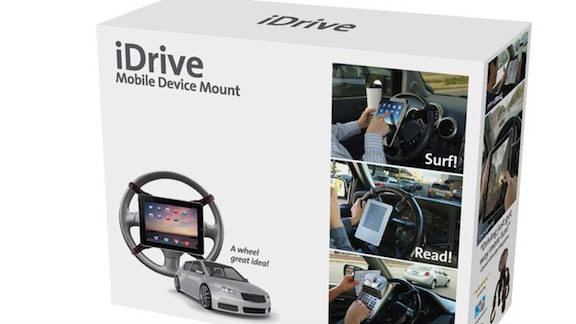 The iDrive, a steering-wheel mount for gadgets, is one of the Prank Pack