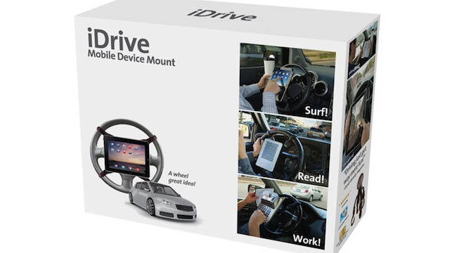 The iDrive, a steering-wheel mount for gadgets, is one of the Prank