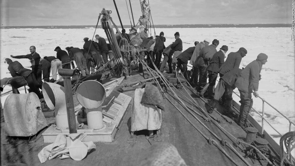 The show brings together writings, photographs and items from the arduous journey. Photo: The Terra Nova expedition entering the pack ice, December 9, 1910.