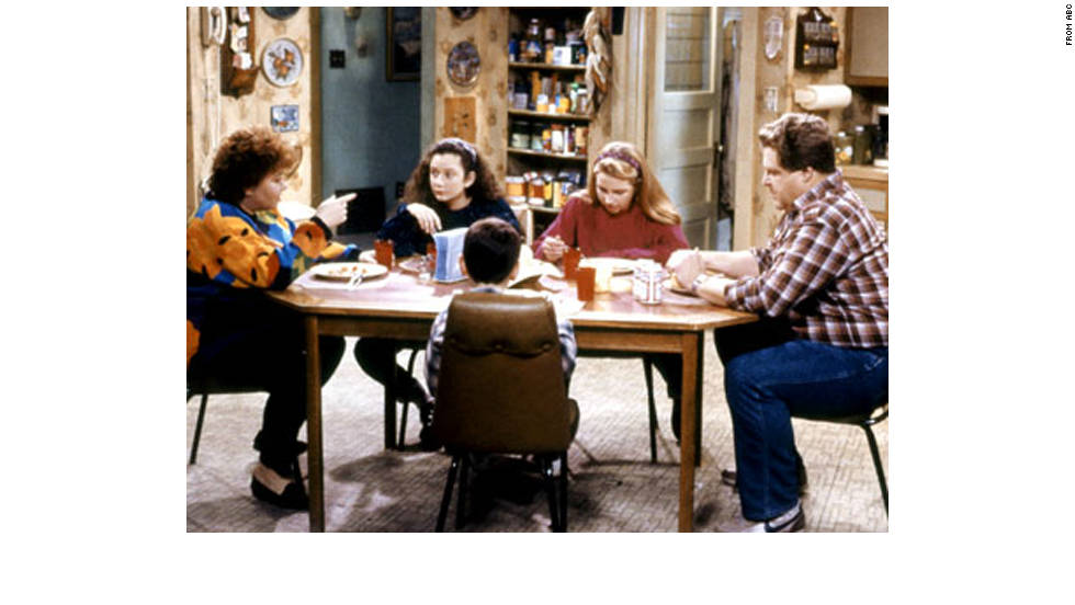 Like the real thing, TV suburbs weren't always spotless and upscale. In this top-rated series starring comedian Roseanne Barr, the family lived in the fictional working-class Chicago suburb of Lanford, Illinois, in a mildly unkempt house, struggling to get by.