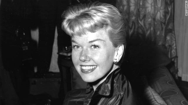 American singer-actress Doris Day (originally Doris Von Kappelhoff) attending a reception at Claridges Hotel in London, April 1955