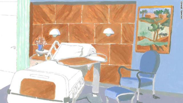 Michael Graves sketched his vision of a functional hospital room.