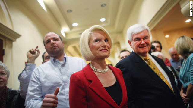 Newt Gingrich and his wife Callista on the campaign trail in Naples, Florida, late last month.